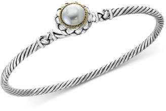 Effy Balissima by Cultured Freshwater Pearl (9mm) Bangle Bracelet in Sterling Silver & 18k Gold