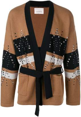 Laneus colour-block studded cardigan