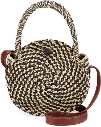Sensi Studio Two-Tone Straw Round Top Handle Bag