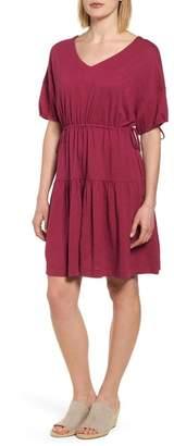 Caslon Gathered Tie Cotton Blend Dress (Regular & Petite)
