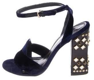 Tory Burch Velvet Ankle Strap Sandals