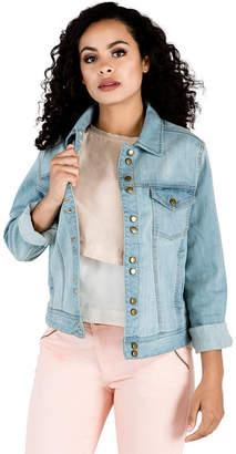 MISS HALLADAY Light Wash 12-button Stretch Denim Western Jackets Waistband Adjusable