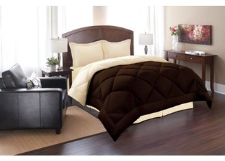 Elegant Comfort Goose Down Alternative Reversible 3pc Comforter Set- Available In A Few Sizes And Colors , King/Cal King, Brown/Cream