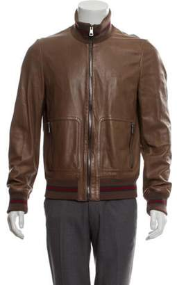 Gucci Web-Trimmed Leather Bomber Jacket brown Web-Trimmed Leather Bomber Jacket
