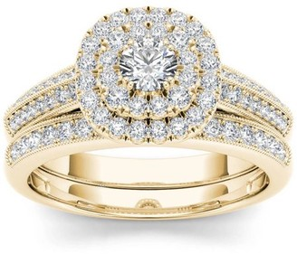 Imperial Diamond Imperial 7/8 Carat T.W. Diamond Double Halo Vintage 10kt Yellow Gold Engagement Ring Set