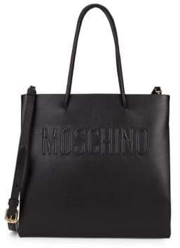 Moschino Leather Logo Shopper Tote
