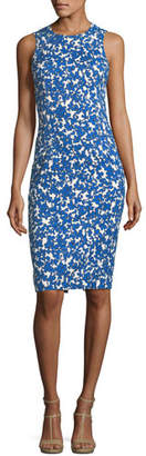 Michael Kors Field Floral-Print Stretch-Matelassé Sheath Dress
