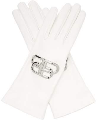 Balenciaga Bb Logo Plaque Leather Gloves - Womens - White