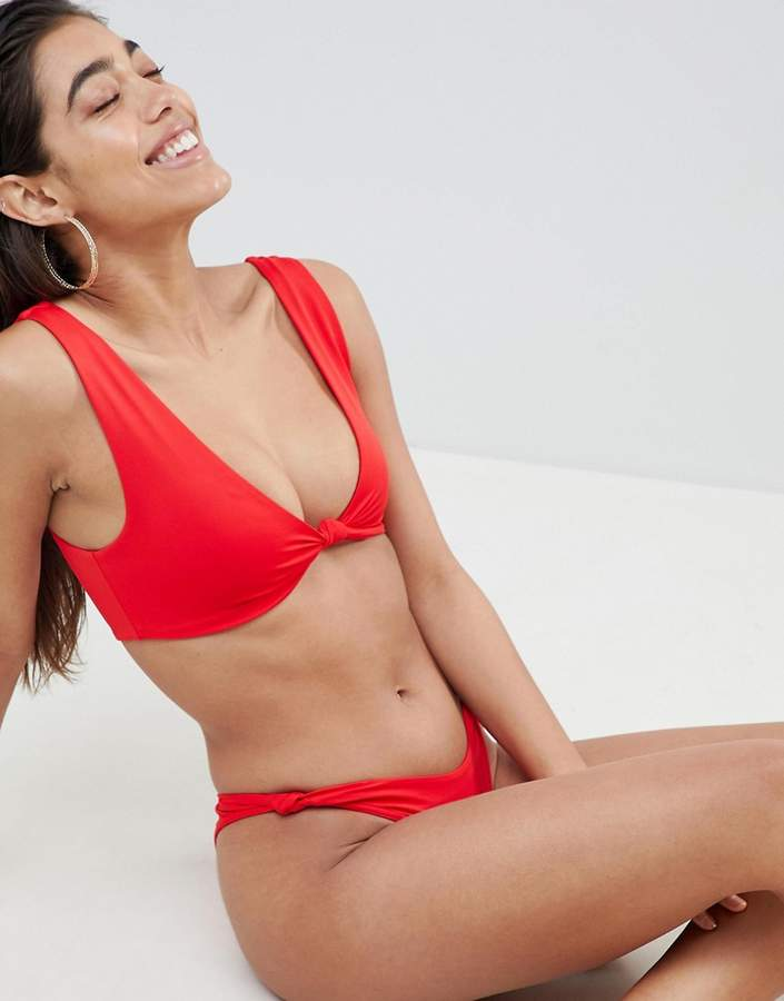 ASOS DESIGN Knot Minimal Crop Bikini Top in red