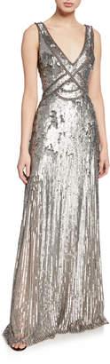 Jenny Packham Sleeveless Sequined V-Neck Gown