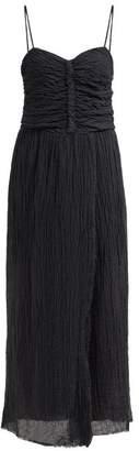 Masscob Lucia Ruched Linen Blend Maxi Dress - Womens - Black