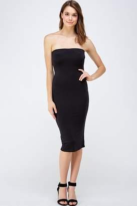 Black Bead Tube Midi Dress