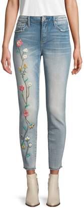 Driftwood Floral Embroidered Frayed Hem Jeans