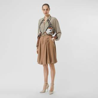 Burberry Linen Blend Bubble Hem Skirt