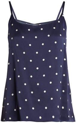 ASCENO Scoop-neck polka-dot print silk cami