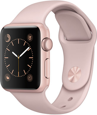 Apple Watch Series 1 38mm Rose Gold-Tone Aluminum Case with Pink Sand Sport Band $269 thestylecure.com