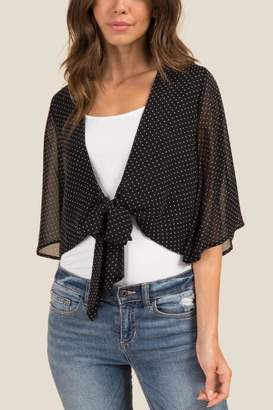 francesca's Kelly Tie Front Top - Black/White
