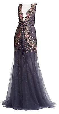 Marchesa Women's Sequin Floral Wrapped Waist Tulle Gown