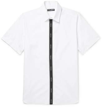 Dolce & Gabbana Grosgrain-Trimmed Cotton-Blend Poplin Shirt - Men - White