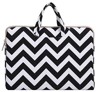 Mosiso Laptop Briefcase Handbag for 14-15 Inch 2017 & 2016 New MacBook Pro with Touch Bar A1707, Notebook Computer Ultrabook, Chevron Style Canvas Fabric Carrying Sleeve Case Cover,Black