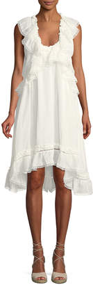 Leon Max Scoop-Neck Sleeveless Linen-Silk Dress w/ Ruffle Detail
