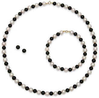 JCPenney FINE JEWELRY Cultured Freshwater Pearl & Dyed Onyx 3-pc. 14K Yellow Gold Jewelry Set
