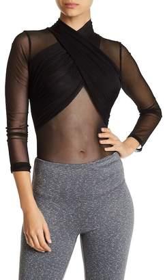 Badgley Mischka Surplice Overlay Mesh Bodysuit