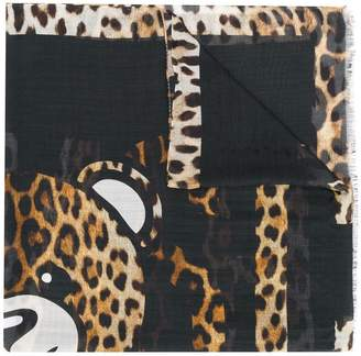 Moschino leopard print teddy bear scarf