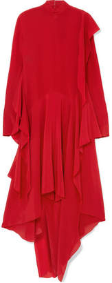 Petar Petrov Asymmetric Ruffled Silk Crepe De Chine Midi Dress - Crimson