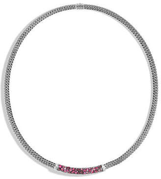 John Hardy Classic Chain Silver Stone Station Necklace, 18""