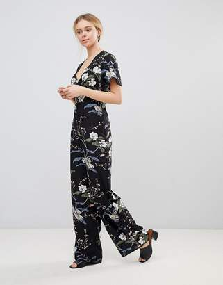 Girls On Film Floral Jumpsuit with Kimono Sleeves