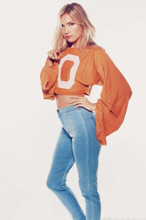 Wildfox Couture Lay Our Scene Angel Crop Sweater in Gold