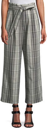 Alice + Olivia Farrel Paperbag Waist Pleated Wide-Leg Windowpane Check Pants