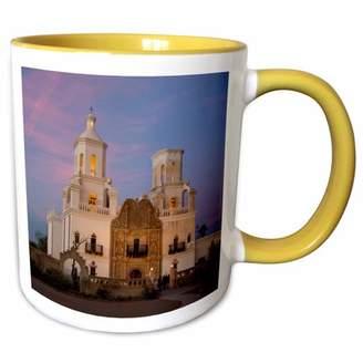 Bac 3dRose USA, Arizona, Tucson, Mission San Xavier del Two Tone Yellow Mug, 11-ounce