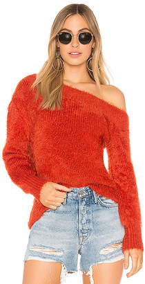 MinkPink Fluffy Off The Shoulder Knit Sweater