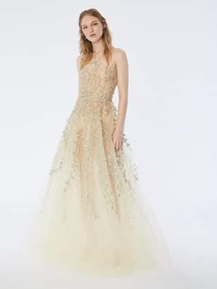 Oscar de la Renta Petal Embroidered Tulle Gown