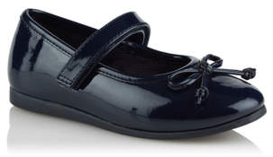 George Girls Navy Patent Bow Trim Ballerina Shoes