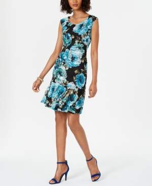 Connected Floral-Print Lace Shift Dress