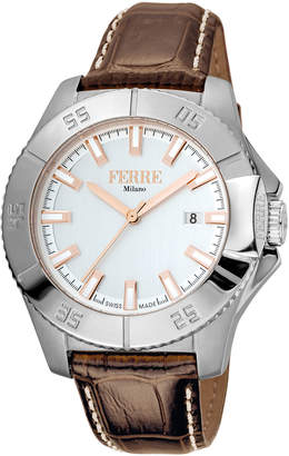 Ferré Milano Men's 45mm Stainless Steel Date 3-Hand Diver Watch with Leather Strap, Steel/Brown