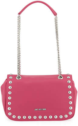 Love Moschino Smooth Faux-Leather Crossbody Bag, Pink