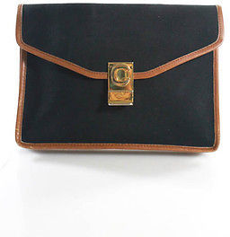 CelineCeline Black Brown Leather Trim Envelope Clutch Handbag