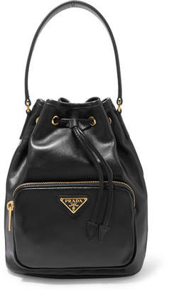 Prada Leather Bucket Bag - Black