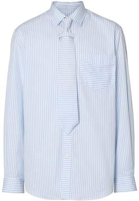 Striped Cotton Shirt and Tie Twinset