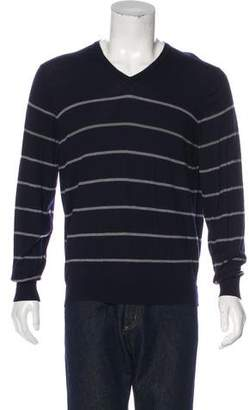 Brunello Cucinelli Cashmere Striped V-Neck Sweater