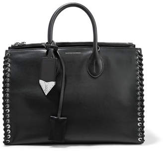 Calvin Klein Whipstitched Leather Tote - Black