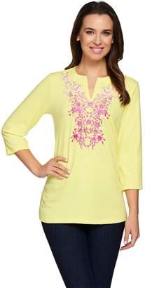 Factory Quacker Ombre Floral Split Neck 3/4 Sleeve T-shirt