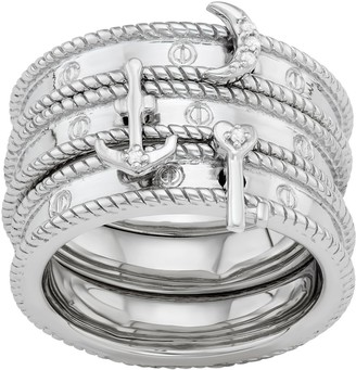Sterling Silver Diamond Accent Key, Moon & Anchor Stack Ring Set
