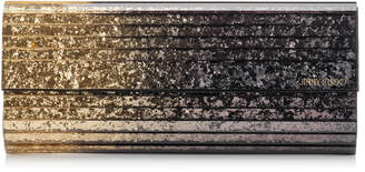 Jimmy Choo SWEETIE Antique Gold and Anthracite Degrade Glitter Acrylic Clutch Bag with Gold Chain Strap