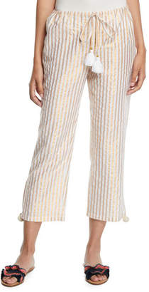 Figue Goa Metallic-Striped Cropped Easy Pants