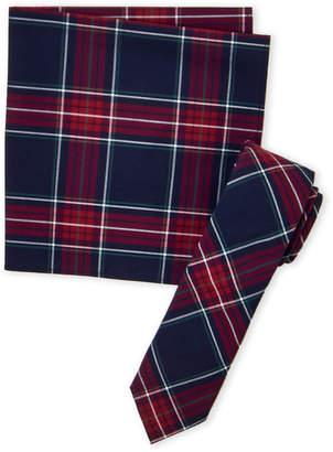 Original Penguin Red & Navy Glimcher Plaid Tie & Pocket Square Set